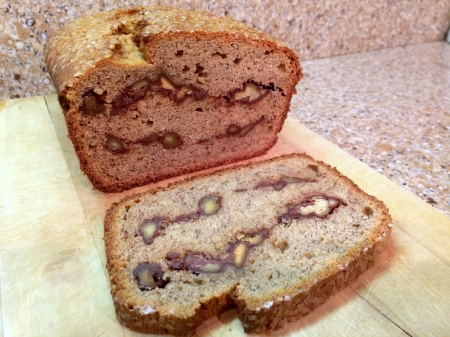Banana Bread Stuffed with Chocolate-Covered Nuts