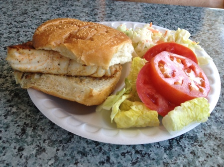 Blackened Grouper Sandwich at Captain Kirk's Stone Crabs