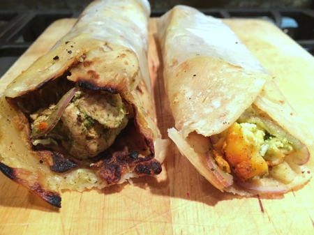 Chicken and Paneer Kati Rolls